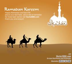 Islamic Greeting Card for Ramadan Kareem Vector Free