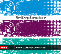 Floral Grunge Banners Vector