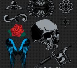 Vectors Sample Pack: Skull, Wings, Rose Flowers, Vintage Ornaments