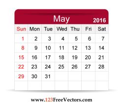 Free Vector 2016 Calendar May