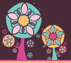 Vector Magic Floral Tree Card Design