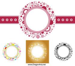 Vector Flower Circle Frame Free