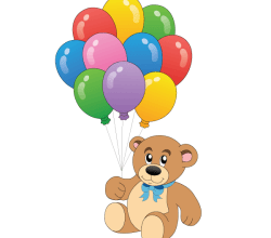Cute Teddy Bear with Colorful Balloons Vector Art