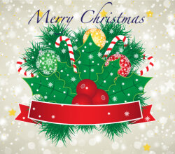 Free Vector Merry Christmas Banner with Red Ribbon