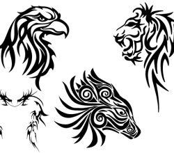 Free Tribal Animals Clip art: Eagle Head, Lion, Dragon and Horse
