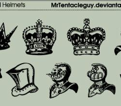 Heraldic Crowns And Helmets Vector