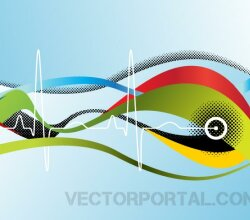 Abstract Background Design with Sine Wave and Halftone
