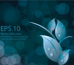 Leaves on Abstract Bokeh Dark Blue Background Vector Image