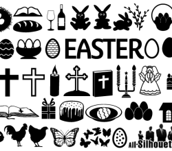 Easter Icons Vector Set