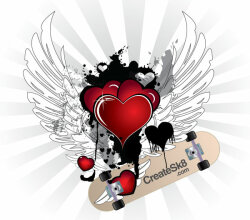 Happy Valentine's Day Winged Red Hearts