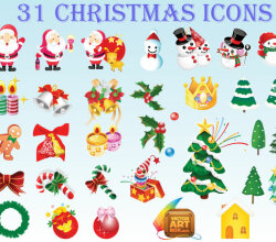 Christmas Icons Free Vector Set