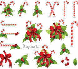 Christmas Candy Cane with Holly Berry and Red Bow Vector