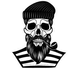 Old Sailor Skull Vector