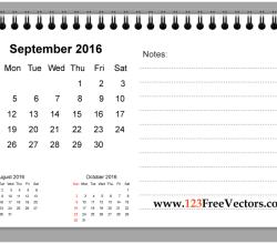September 2016 Printable Calendar with Notes