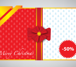 Merry Christmas Gift Card With Red and Gold Ribbon Vector Illustration