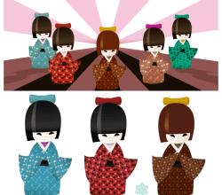 Free Japanese Kokeshi Dolls Vector