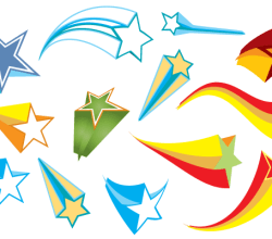 Colorful 3D Stars Free Vector Elements