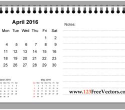 April 2016 Printable Calendar with Notes