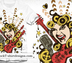Free Vector Tshirt Design With Singing Girl, Guitar And Microphone