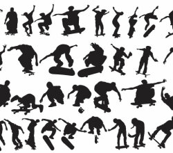 Vector Skaters Silhouettes