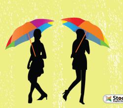Girls with Umbrella Walking in the Rain Vector Art