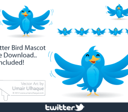 Twitter Bird Funny Mascot Vector Art
