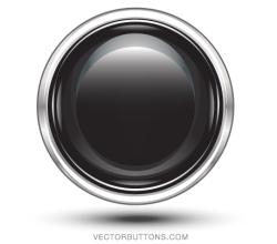 Platinum Black Circle Button Vector