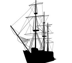 Vector Caravel Sailing Ship Silhouette