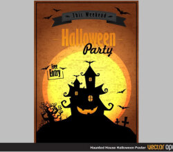 Haunted House Halloween Poster Vector Image