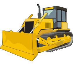 Vector Bulldozer Clip Art Image