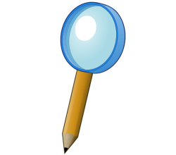 Vector Magnifying Glass with Pencil