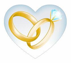 Wedding Golden Rings in Heart Vector Art