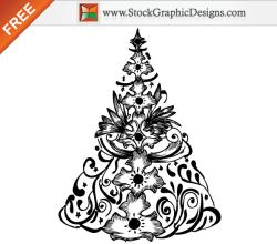 Hand Drawn Christmas Tree Free Vector Illustration