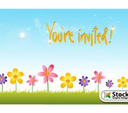 Flower Invitation Background Design Vector