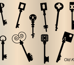 Vector Old Key Silhouettes