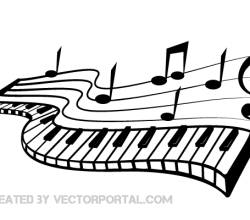 Vector Keyboard and Music Notes