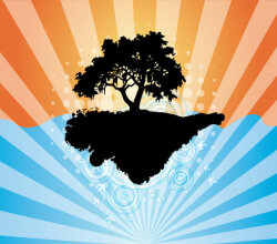 Abstract Background with Tree Silhouette Vector Art