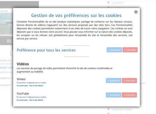 Dans une fenêtre pop-up lightbox ;) il peut choisir d'interdire/autoriser Tous ou certains des services proposés sur le site.