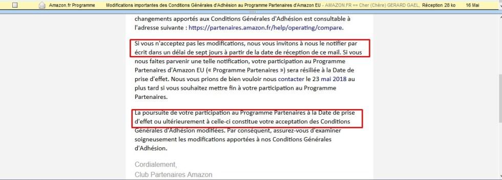 Mise en confomrité RGPD pour Amazon Partenaires