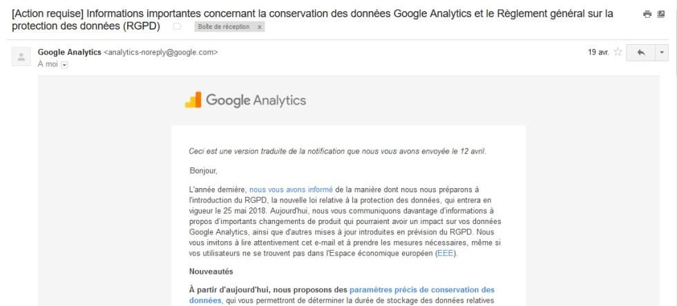 Mise en conformité RGPD Google Analytics