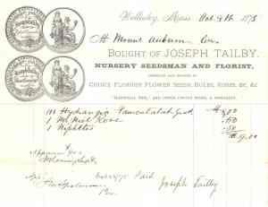 Invoice from Joseph Tailby, Nursery Seedsman and Florist, 1875.
