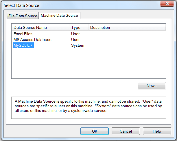 """Shows the Select Data Source dialog with two tabs: """"File Data Source"""" and """"Machine Data Source."""" The Machine Data Source tab is selected and displays three columns: Data Source Name, Type, Description. The selected row has """"MySQL 5.7"""" defined as the Data Source Name, and """"System"""" as the Type."""