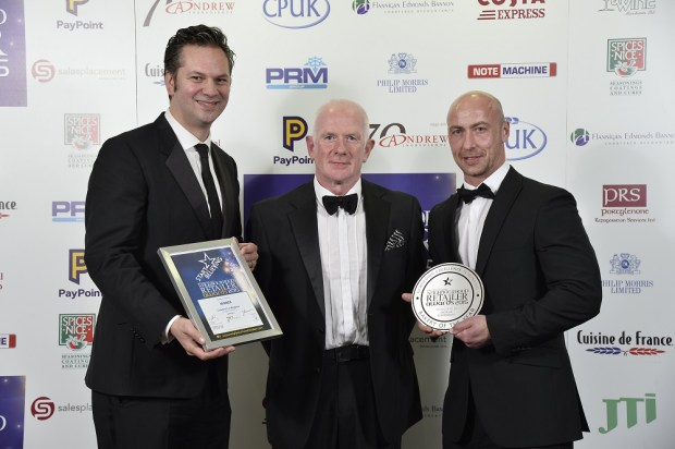 Jonathan Crawford; John Boland from sponsor Andrew Ingredients Ltd and Denvir Watterson, Crawford's