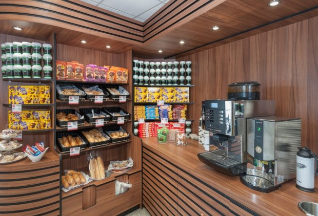 The coffee area has a wide selection of beverages