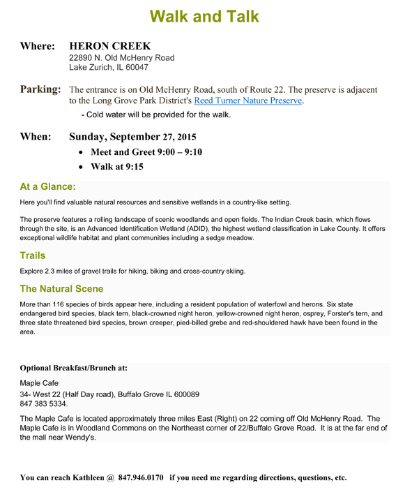 ACA Event - Walk Talk September 2015