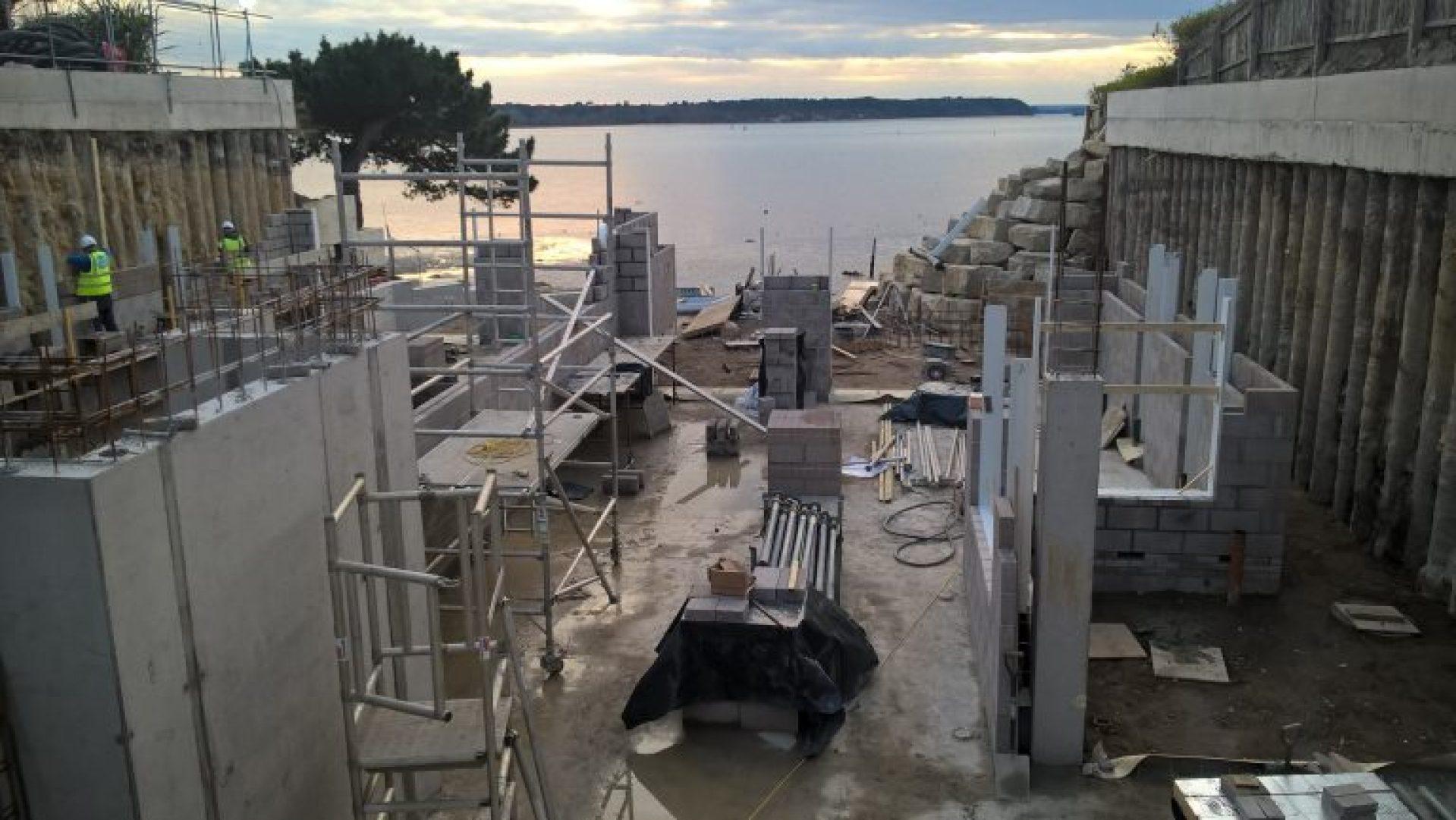 Concrete walls under construction