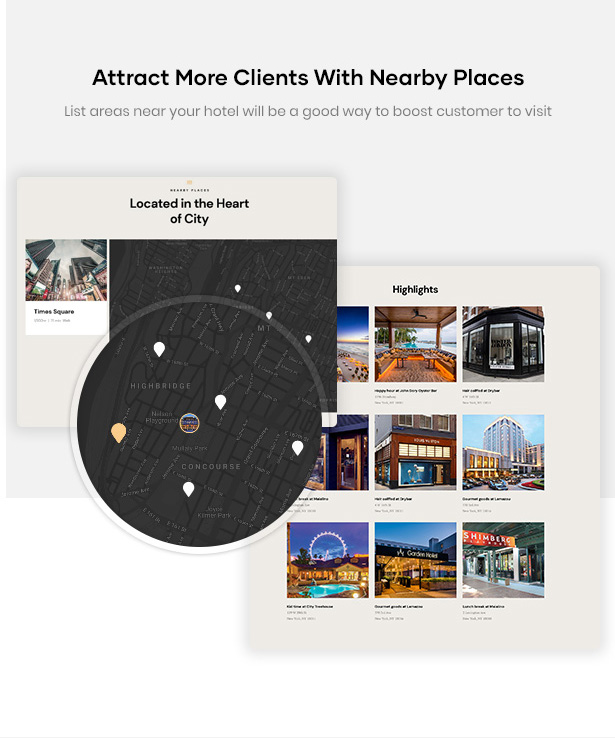 Erios Hotel WordPress Theme Attract Clients Nearby Places