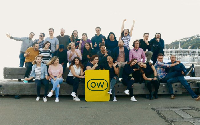 The Optimal Workshop team waving and posing on the Wellington waterfront with the OW logo in the middle.
