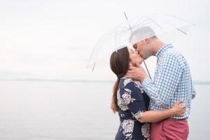 Kissing photograph of Couple on Lake Champlain