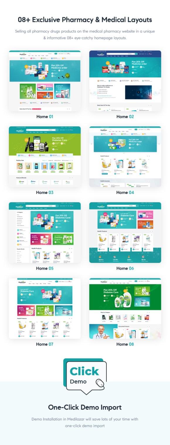 Medilazar Pharmacy WooCommerce WordPress Theme - 08+ Pharmacy Medical Demos Homepages